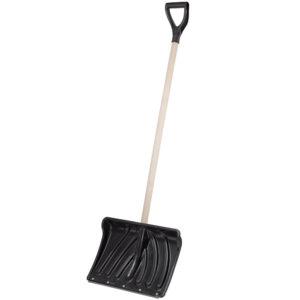 Пластиковая лопата для уборки снега с деревянным черенком Крепыш фото