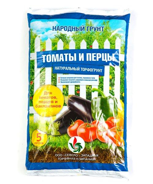 Натуральный торфогрунт Народный для томатов и перцев 5 литров